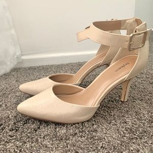 Cream faux alligator skin pumps with gold buckle